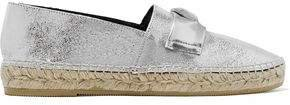Etoile Embellished Metallic Cracked-leather Espadrilles