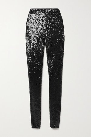 Sequined Stretch-jersey Leggings - Black