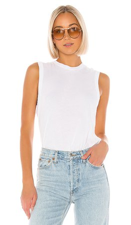 RE/DONE 70s Long Muscle Tee in White | REVOLVE