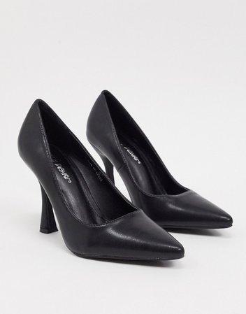 Public Desire Dahlia feature heeled shoe in black | ASOS