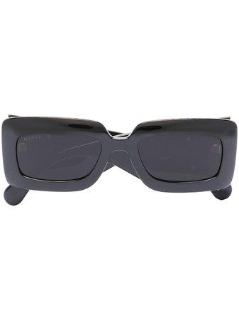 Black Gucci Eyewear rectangle-frame sunglasses - Farfetch