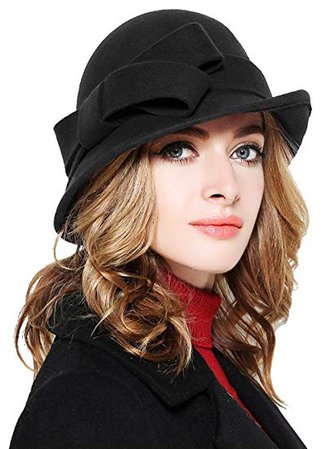 Bellady Women Solid Color Winter Hat 100 percent Wool Cloche Bucket with Bow Accent, Black, One Size at Amazon Women's Clothing store: