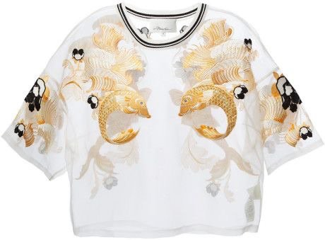 Philip Lim - Metallic Fish Embroidered Sheer Blouse