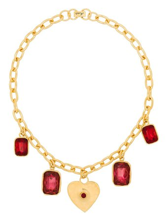 Mondo Mondo heart-charm crystal necklace gold & pink JA2003HE01 - Farfetch