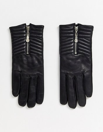 River Island quilted leather gloves in black | ASOS