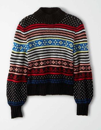 AE Fairisle Pullover Sweater black