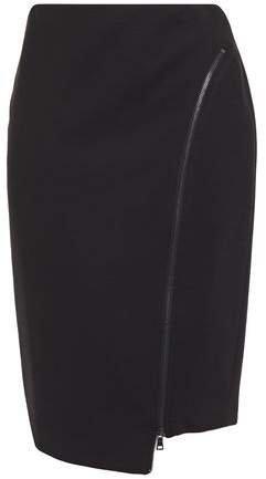 Josie Asymmetric Zip-detailed Ponte Pencil Skirt