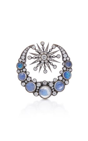 Colette Jewelry 18K Oxidized Gold Moonstone And Diamond Ring