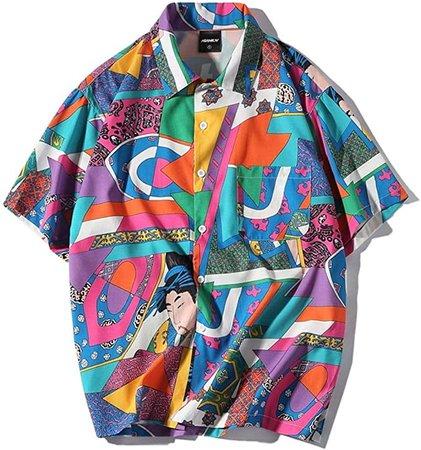 Aelfric Eden Men's Short-Sleeve Japanese Harajuku Shirt Hawaiian Shirts Summer Floral Tops Shirts at Amazon Men's Clothing store