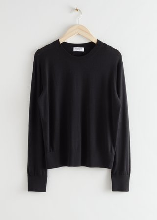 Slit Cuff Wool Knit Sweater - Black - Sweaters - & Other Stories