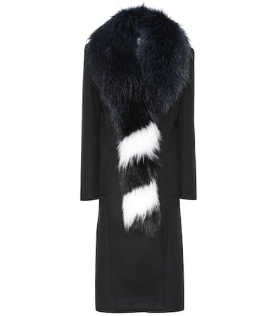 Fur-trimmed wool-blend coat