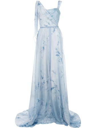 Marchesa Notte floral asymmetric gown blue N37G1135 - Farfetch