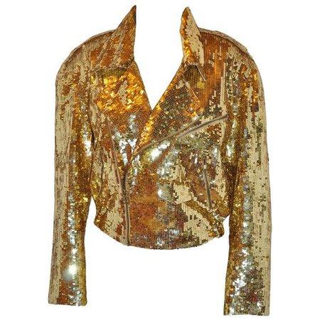 Iconic Lillie Rubin of Park Avenue golden metallic sequin zipper motorcycle jacket