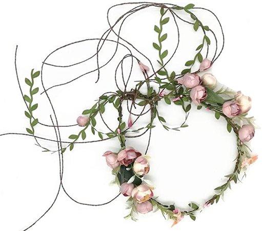 Amazon.com: Floral Fall Adjustable Bridal Flower Garland Headband Flower Crown Hair Wreath Halo F-83 (A): Home & Kitchen