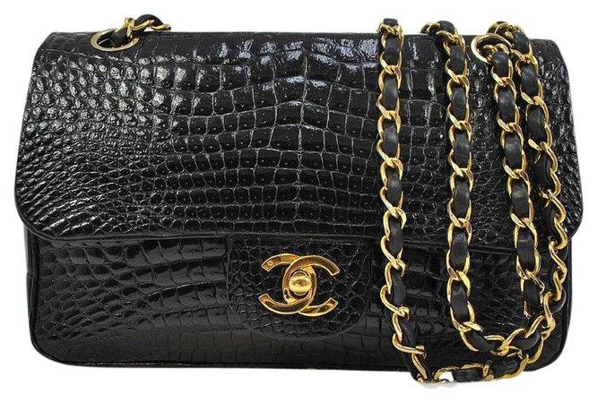 Chanel Crocodile Black 2.55 255 Flap Bag Purse. Rare Chanel exotic black crocodile double flap 2.55 shoulder bag
