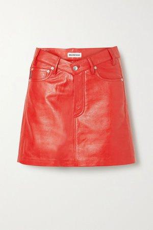 Red Textured-leather mini skirt | Balenciaga | NET-A-PORTER
