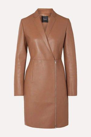 Leather Coat - Camel