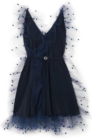 Alexis Mabille | Crystal-embellished belted voile-trimmed crepe mini dress | NET-A-PORTER.COM
