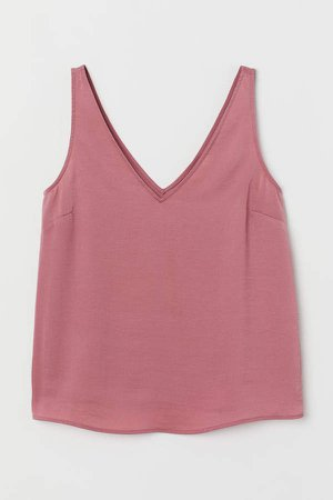V-neck Satin Tank Top - Pink