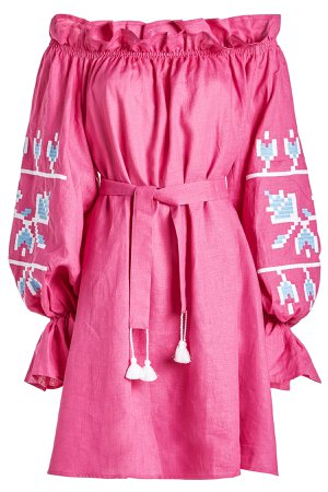 Embroidered Linen Mini Dress Gr. M