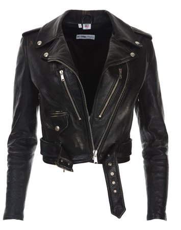 Leather Moto Jacket in Vintage Black | RE/DONE