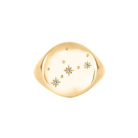 Wolf & Badger Virgo Constellation Signet Ring Diamonds & 9Ct Gold