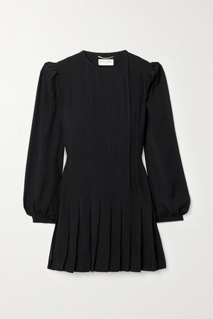 Pleated Crepe Mini Dress - Black
