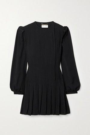 Pleated Crepe Mini Dress - Black