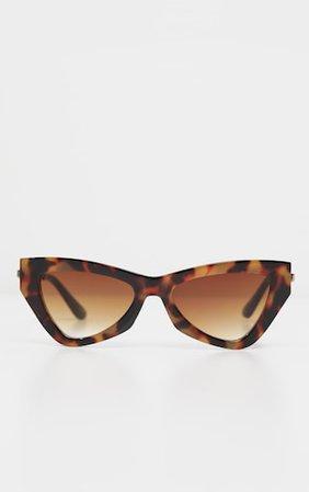 Brown Tortoiseshell Cat Eye Sunglasses   PrettyLittleThing