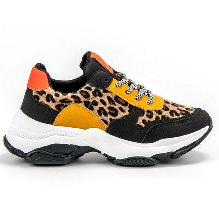 SHELOVET wielokorowe Kolorowe Sneaker Leopard Print