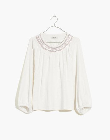 Superlight Jacquard Embroidered Smocked Top white