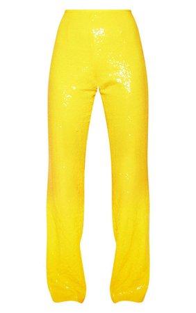 Yellow Sequin Flare Leg Pants   Pants   PrettyLittleThing USA