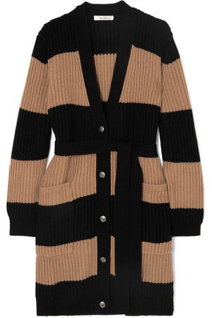 Max Mara | Belted striped ribbed wool and cashmere-blend cardigan | NET-A-PORTER.COM