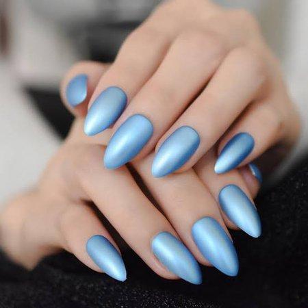 Matte Blue Almond Nails
