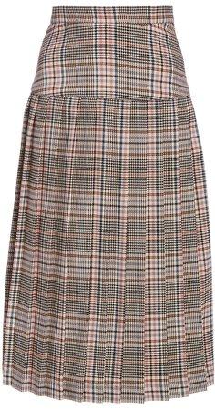 Rodarte Pleated Plaid Midi Skirt
