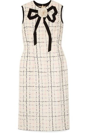 Gucci - Grosgrain-trimmed Checked Tweed Dress - Ivory