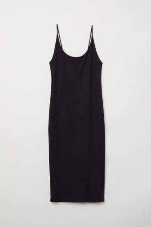 Ribbed Jersey Dress - Black
