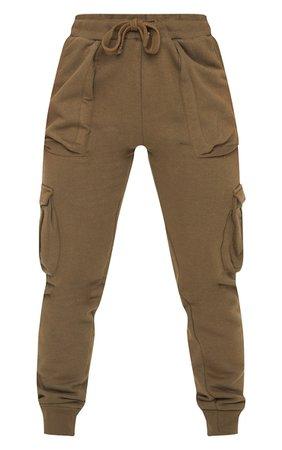 Khaki Cargo Joggers | Trousers | PrettyLittleThing