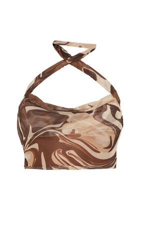 Brown Abstract Marble Print Mesh Cross Front Halterneck Crop Top   PrettyLittleThing USA