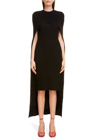 Givenchy Ribbed Wool Body-Con Sweater Dress with Cape | Nordstrom