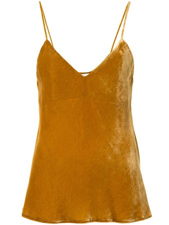 Yellow Mes Demoiselles velvet effect tank top 20WBERLIOZ - Farfetch