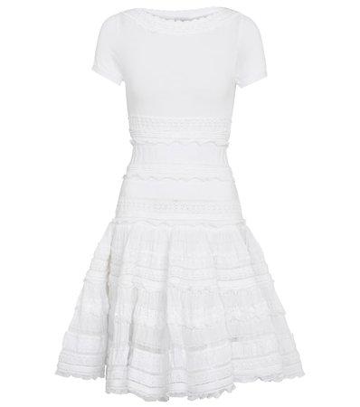 Alaïa - Ruffle-trimmed cotton-blend minidress   Mytheresa