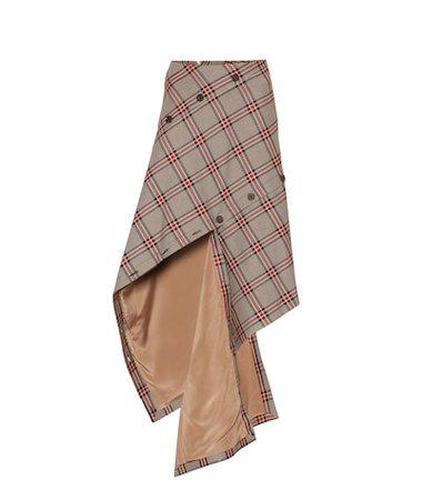 Checked cotton-blend midi skirt