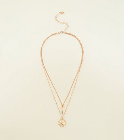Gold Coin and Cross Layered Necklace | New Look