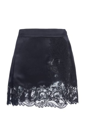 Pleated And Lace-Paneled Silk-Satin Mini Skirt by Versace   Moda Operandi