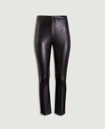 Faux Leather High Waist Kick Crop Jeans | Ann Taylor