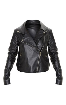 Black Pu Zipped Biker Jacket | PrettyLittleThing