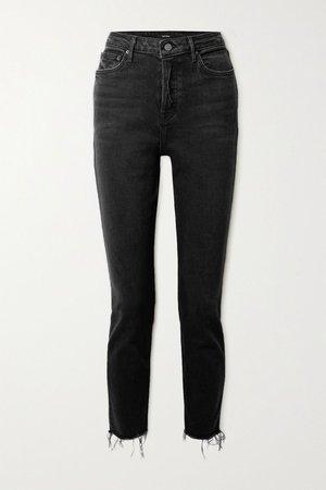 Black Karolina frayed high-rise skinny jeans   GRLFRND   NET-A-PORTER