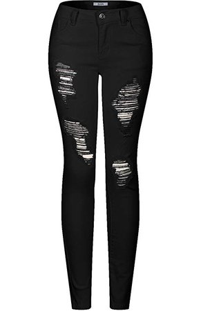 2LUV Women's Stretchy 5 Pocket Destroyed Skinny Jeans, Size-0 (JS-174-2R OR E-214 Distressed Skinny Jeans), Black2 at Amazon Women's Jeans store