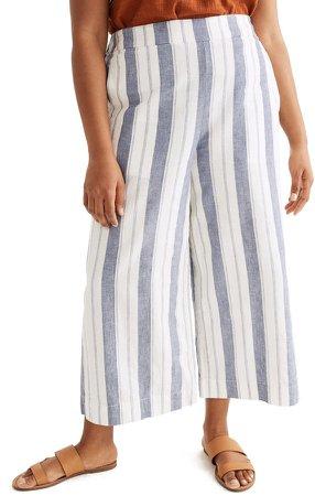 Huston Stripe Linen & Cotton Pull-On Crop Pants